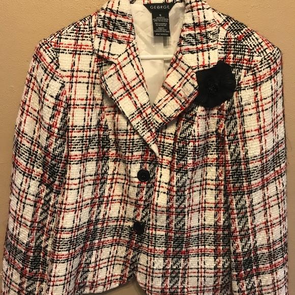 George Jackets & Blazers - White, black, red tweed, short jacket